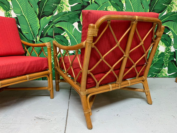 Rattan Tiki Style Chinoiserie Lounge Chairs rear view