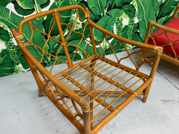Rattan Tiki Style Chinoiserie Lounge Chairs
