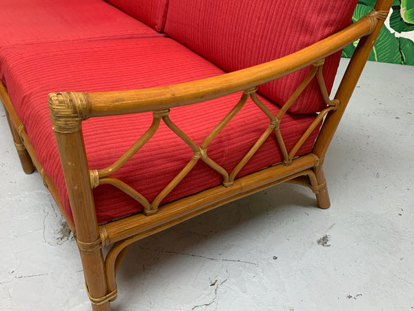 Rattan Tiki Style Chinoiserie Sofa close up