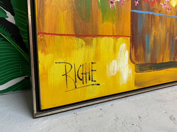 Large 1970s Framed Floral Painting by Richie
