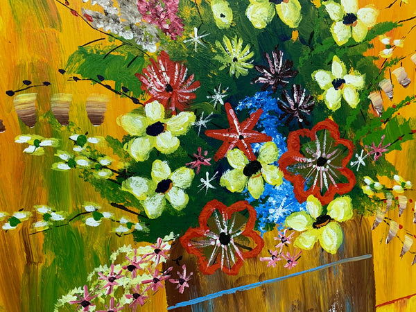 Large 1970s Framed Floral Painting by Richie close up