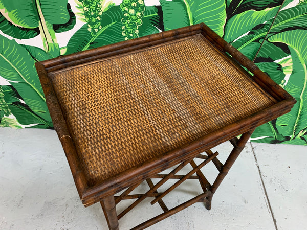 Rattan Wine Rack Tray Table top view