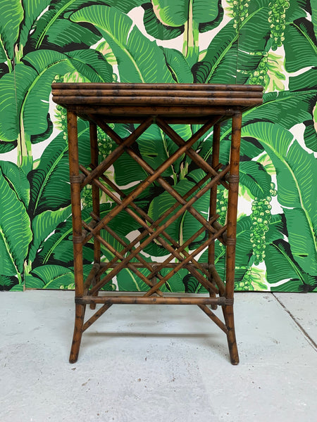 Rattan Wine Rack Tray Table front view