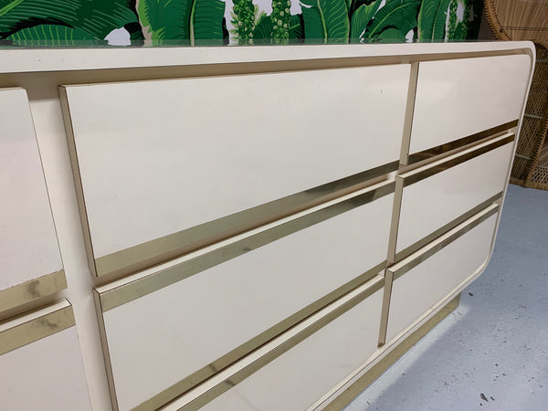 Vintage 1980s Art Deco Waterfall Dresser close up