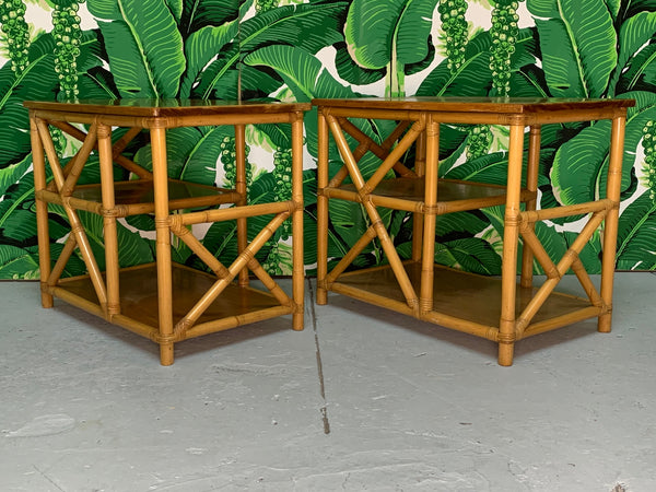 Rattan Chinoiserie Style End Tables front view