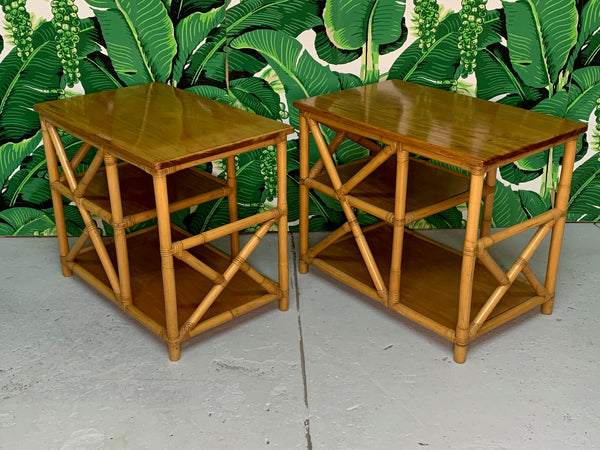 Rattan Chinoiserie Style End Tables side view