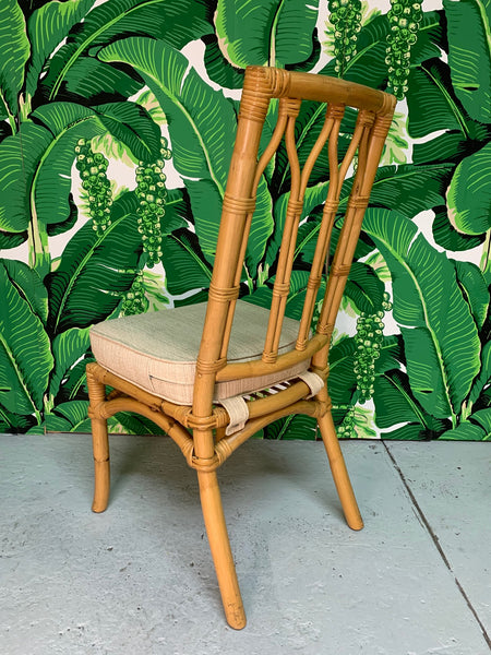 Vintage Rattan Cathedral Dining Chairs - Set of 6 rear view