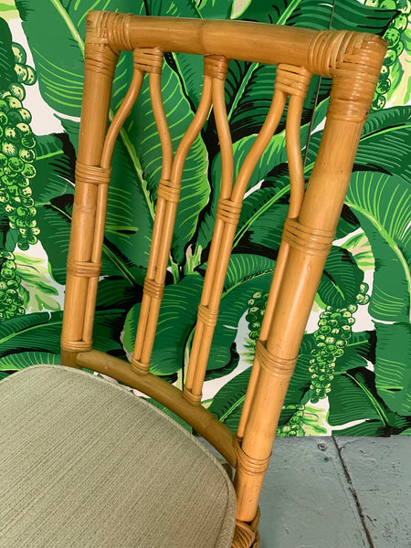 Vintage Rattan Cathedral Dining Chairs - Set of 6 close up