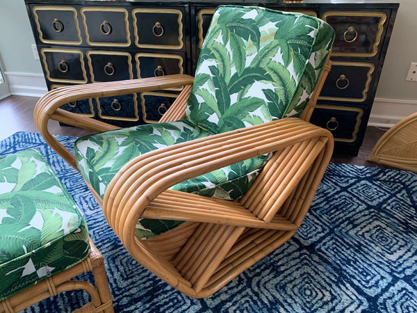 Paul Frankl Style Six Strand Square Pretzel Lounge Chair and Ottoman close up