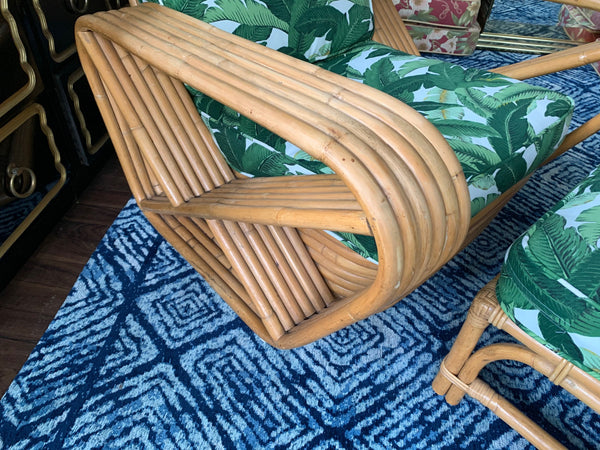 Paul Frankl Style Six Strand Square Pretzel Lounge Chair and Ottoman arm view