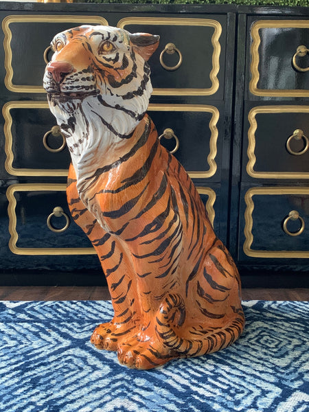 Large Mid Century Glazed Ceramic Tiger Statue front view