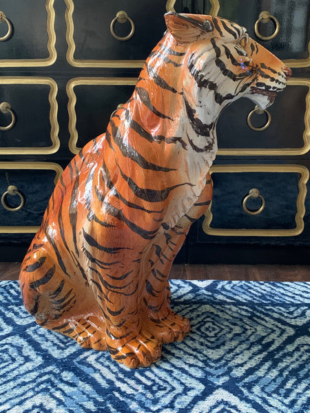 Large Mid Century Glazed Ceramic Tiger Statue