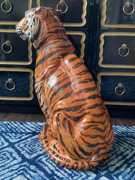 Large Mid Century Glazed Ceramic Tiger Statue rear view