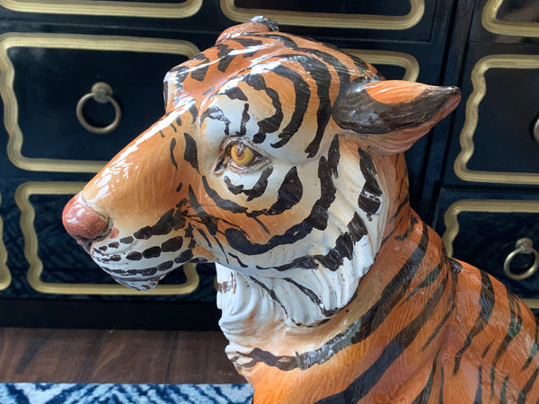 Large Mid Century Glazed Ceramic Tiger Statue close up