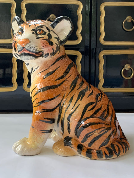 Ceramic Glazed Tiger Statue front view