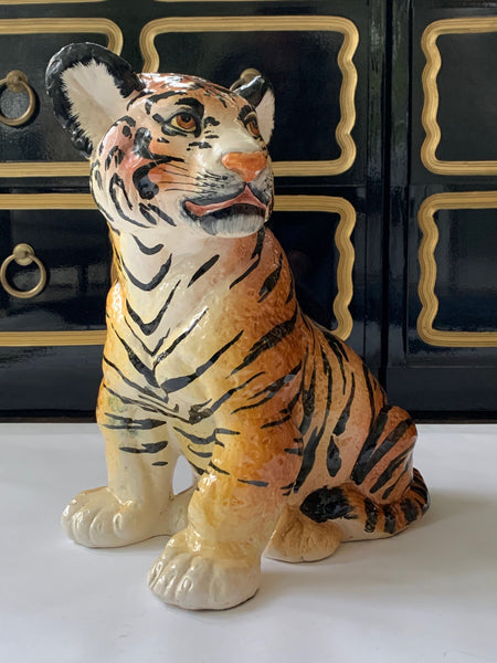Ceramic Glazed Tiger Statue side view