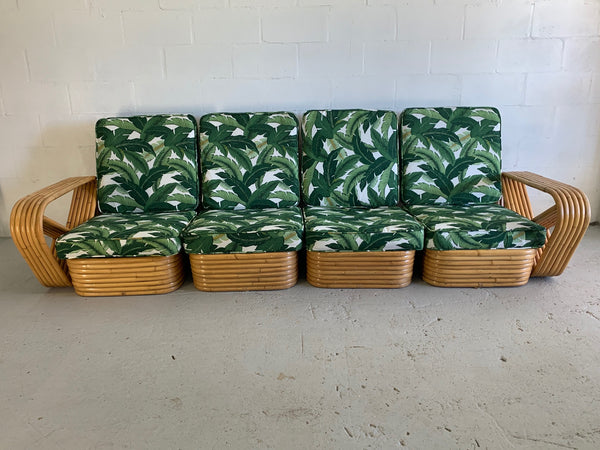 Paul Frankl Style Six Strand Rattan Sectional Sofa