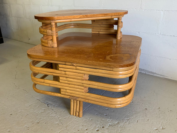 Paul Frankl Style Stacked Rattan Corner Table