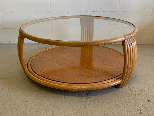 Paul Frankl Style Rattan Round Coffee Table front view