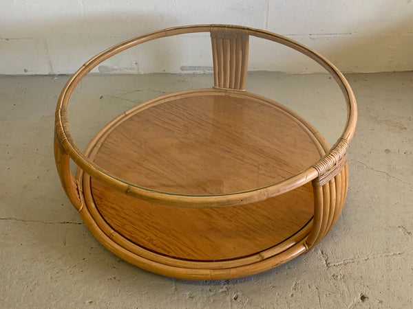 Paul Frankl Style Rattan Round Coffee Table top view