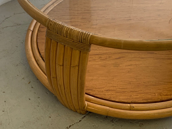 Paul Frankl Style Rattan Round Coffee Table close up