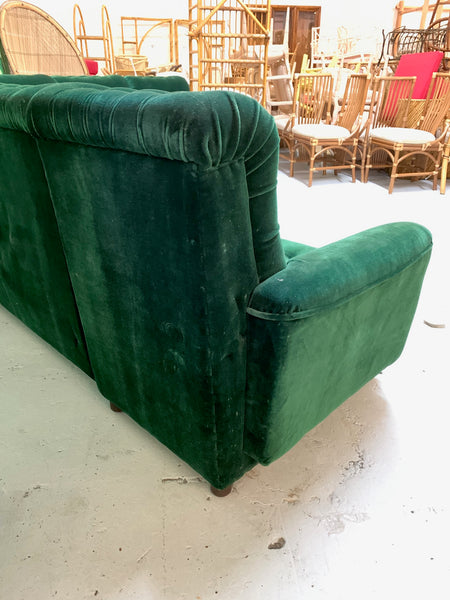 Mid Century Green Velvet Tufted Sectional Sofa rear view