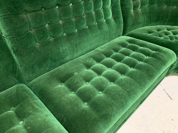 Mid Century Green Velvet Tufted Sectional Sofa close up view