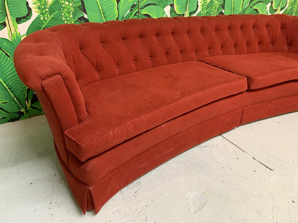 Mid Century Dorothy Draper Style Red Curved Tufted Sofa