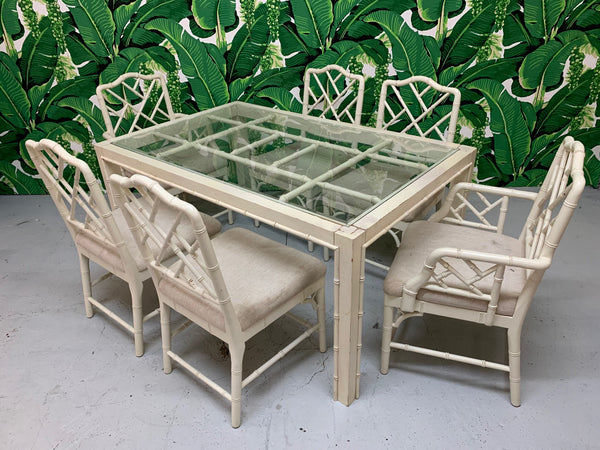 Faux Bamboo Chinese Chippendale 7-Piece Dining Set front view