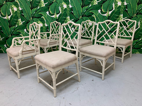 Faux Bamboo Chinese Chippendale Dining Chairs Set of 6 front view