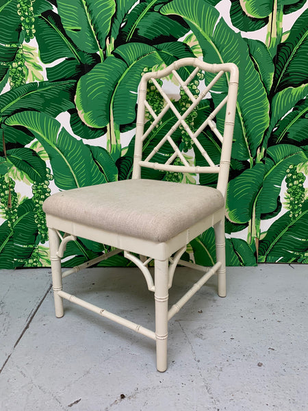 Faux Bamboo Chinese Chippendale Dining Chairs Set of 6 close up