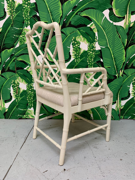 Faux Bamboo Chinese Chippendale Dining Chairs Set of 6 rear view