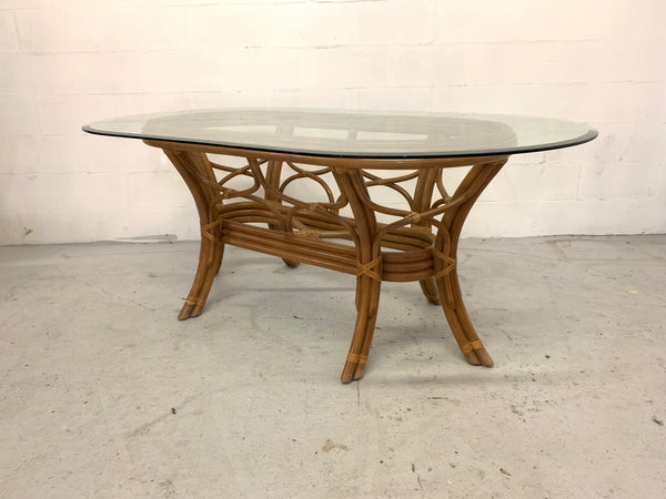 Rattan Bentwood Pedestal Oval Dining Table