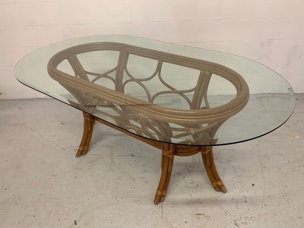Rattan Bentwood Pedestal Oval Dining Table top view