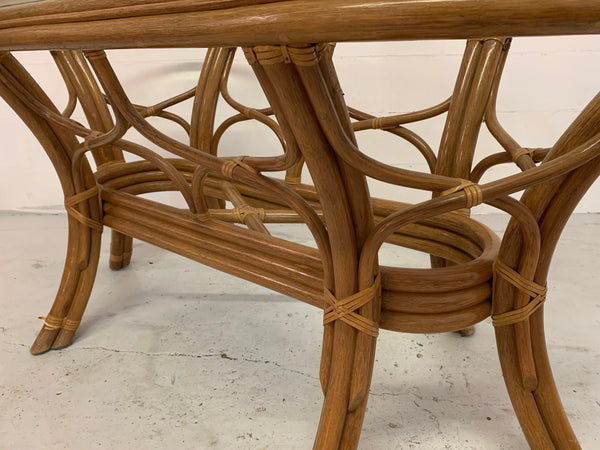 Rattan Bentwood Pedestal Oval Dining Table close up