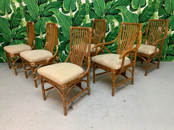 Rattan Bentwood Dining Chairs, Set of 6 front view