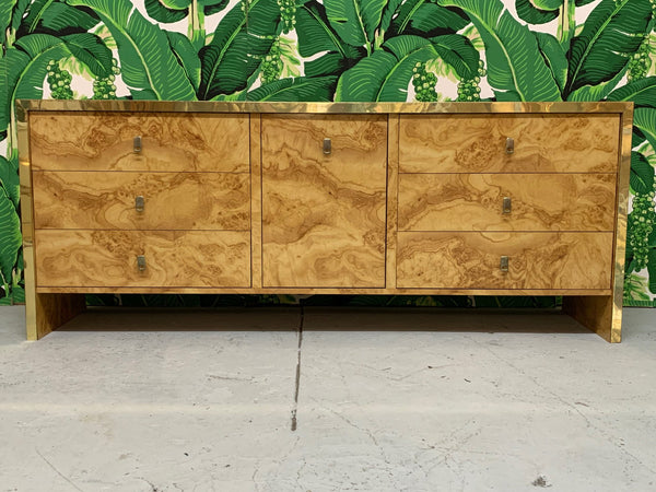 Hollywood Regency Burl Wood and Brass Credenza front view