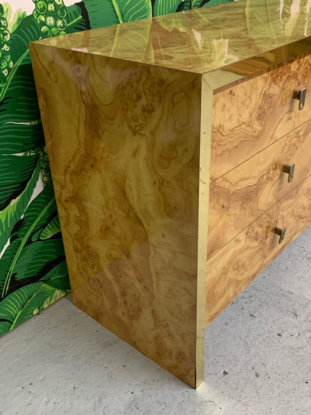 Hollywood Regency Burl Wood and Brass Credenza side view