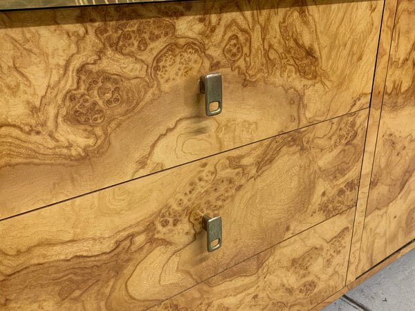 Hollywood Regency Burl Wood and Brass Credenza