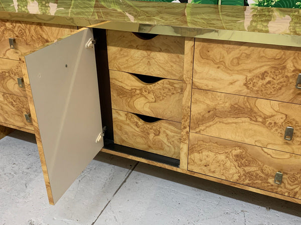 Hollywood Regency Burl Wood and Brass Credenza open view