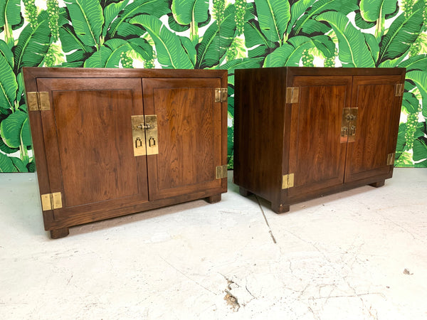 Henredon Double Door Cabinets or End Tables, Set of Two front view