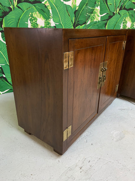 Henredon Double Door Cabinets or End Tables, Set of Two close up