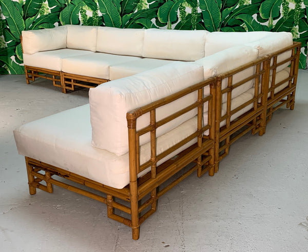 Ficks Reed Rattan Chinoiserie Sectional Sofa