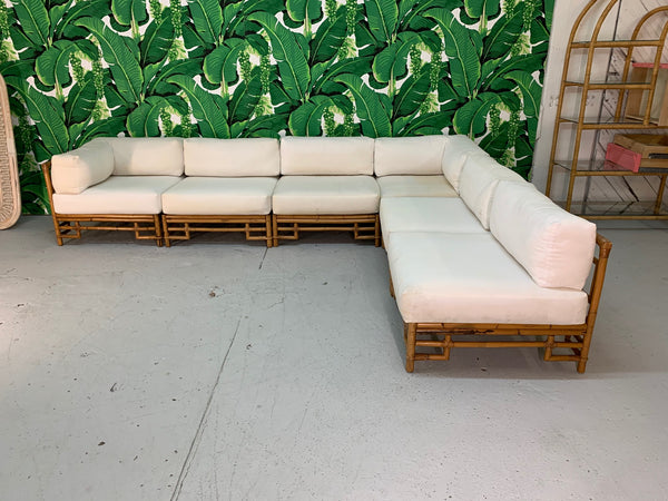 Ficks Reed Rattan Chinoiserie Sectional Sofa front view