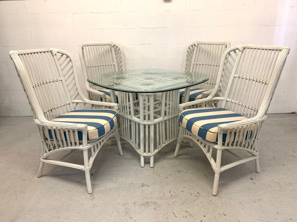 Ficks Reed Rattan Dining Set With 4 High Back Chairs and Table