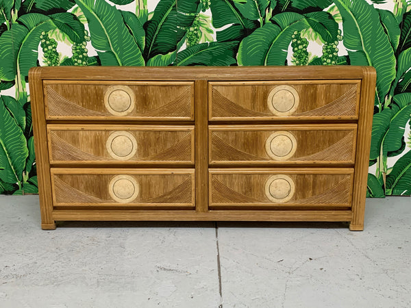 Mid Century Tropical Split Pencil Reed Rattan Dresser front view