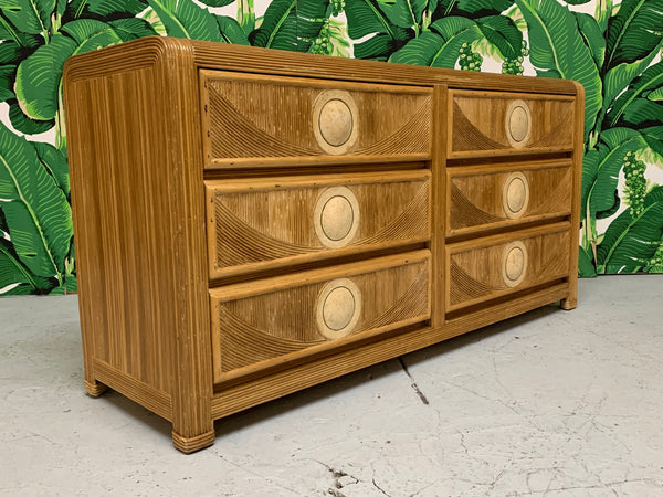 Mid Century Tropical Split Pencil Reed Rattan Dresser side view