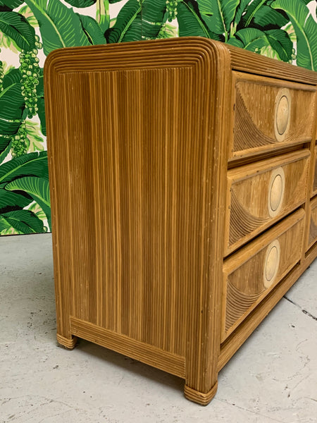 Mid Century Tropical Split Pencil Reed Rattan Dresser