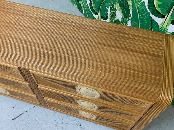 Mid Century Tropical Split Pencil Reed Rattan Dresser top view