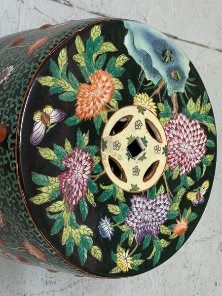Hand Painted Floral Chinoiserie Garden Stool top view